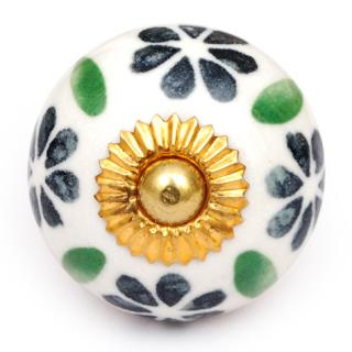 KPS-4585 - Green Flowers and Leaves on a Round White Ceramic Cabinet Knob