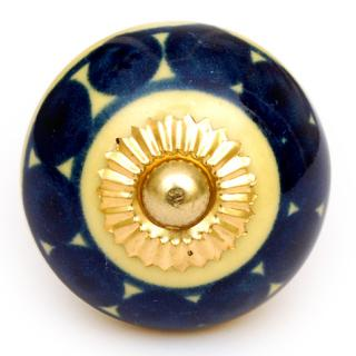 KPS-4587 - Dark Blue and Yellow Design on a Round Ceramic Cabinet Knob