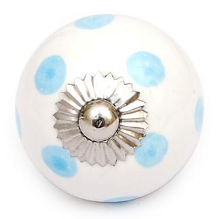 KPS-4589 - White knob and Turquoise Polka-dots