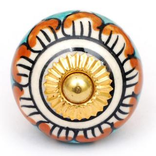 KPS-4591 - Turquoise and Brown design knob