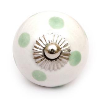 Green Polka Ceramic Cabinet Knob