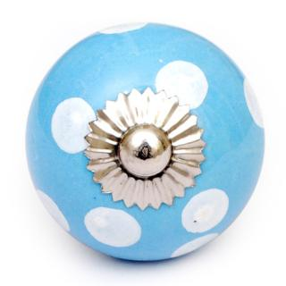 KPS-4600 - Turquoise knob and White polka-dots