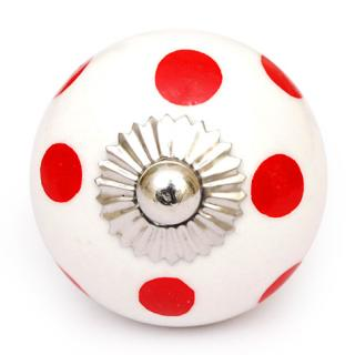 KPS-4611 - White knob and Red polka-dots knob