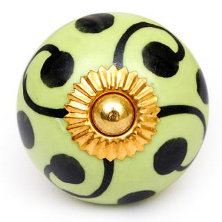 KPS-4612 - Green Design on a Lime Green Round Ceramic Cabinet Knob