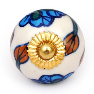 KPS-4613 - White knob and Turquoise flowerd knob