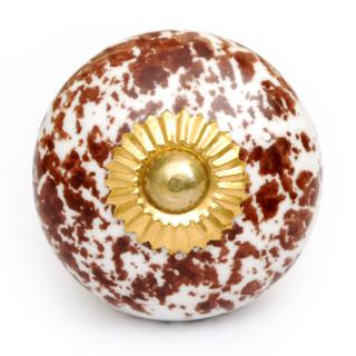 KPS-4621 - Round White Ceramic Cabinet Knob with Brown Design