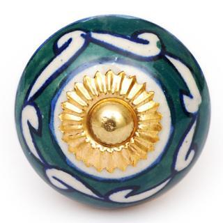 KPS-4623 - Green and White Design on a White Ceramic Cabinet Knob