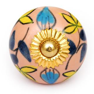 KPS-4625 - Yellow flower and Turquoise and Blue leaf and Pink knob