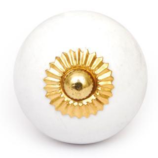 KPS-4627 - Round White Ceramic Cabinet Knob