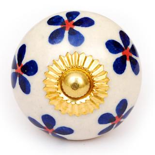 KPS-4628 - Small Blue Flowers on a White Ceramic Cabinet Knob