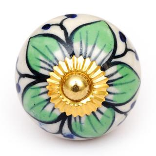 KPS-4637 - Lime green flowers and White base knob