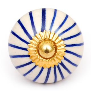 KPS-4639 Blue Striped Ceramic Door Knob