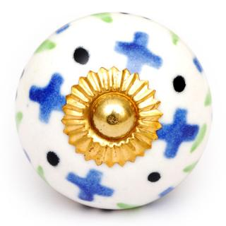 KPS-4646 - Blue Flowers and Lime Green Leaves on a White Ceramic Cabinet Knob