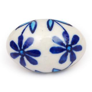 KPS-4648 - Blue Flowers on a White Oval Ceramic Cabinet Knob