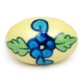 KPS-4649 - Turquoise flower and green,turquoise leaf with Yellow base knob