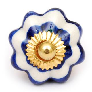 KPS-4653 - Blue and White Design on a Ceramic Cabinet Knob