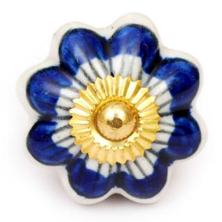 KPS-4655 - Blue Flower with Blue Details on a White Ceramic Cabinet Knob