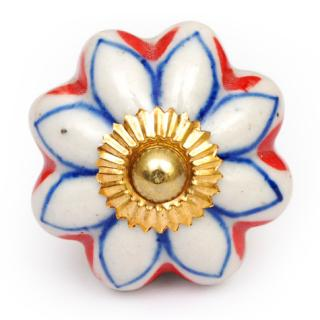 KPS-4662 - White Flower Ceramic Cabient Knob with Blue and Orange Outline