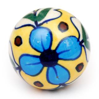 KPS-4690 - Turquoise flower, Black dots with Yellow base knob
