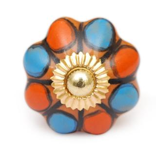 KPS-9005 - Turquoise, Orange and Brown Flower-Shaped Cabinet Knobs