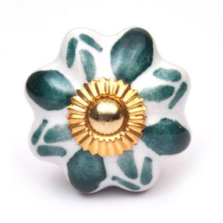 KPS-9006 - Green Flower on a White Cabinet Knob