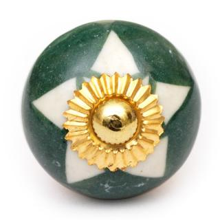 KPS-9014 - Whiter Flower and Green Base Ceramic knob
