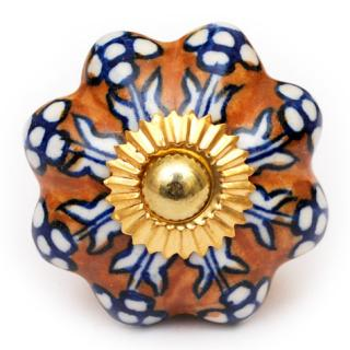 KPS-9020 - White Flower and Brown Base Ceramic knob