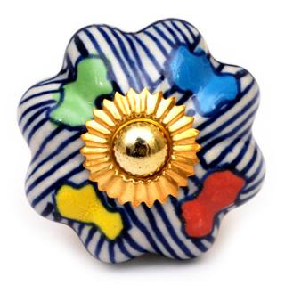 KPS-9028 - Blue Lining and Four Colored leaf Ceramic knob