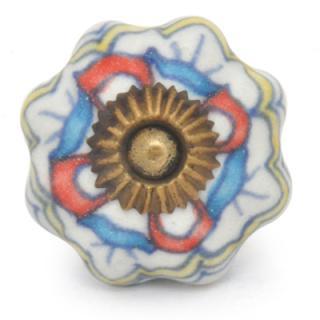KPS-9033 White , Yellow ,Blue design Ceramic Knob-Antique Brass