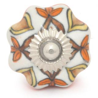 KPS-9035-White Base Brown and Orange design