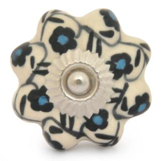 KPS-9045-Black and Turquoise Flowers with White Ceramic knob
