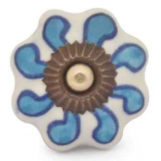 KPS-9046-Turquoise design with White Base Ceramic knob