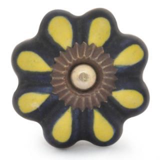 KPS-9047-Black and Yellow Colored Ceramic knob