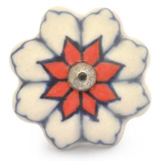 KPS-9052-Red Flower and Blue Line with White Ceramic knob