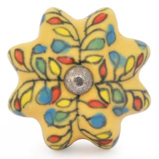 KPS-9053-Yellow,Red, Blue and Green leaf with Yellow Ceramic knob