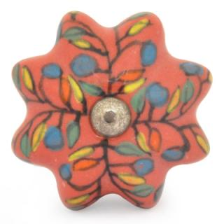KPS-9054-Yellow,Red, Blue and Green leaf with Dark Orange Ceramic knob