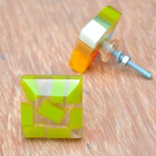 Rectangular Transparent Door Knobs with Rectangular Pastel Shades in Green