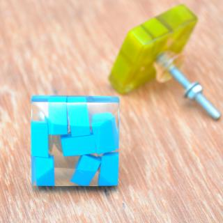 Rectangular Transparent Door Knobs with Rectangular Pastel Shades in Tourquoise
