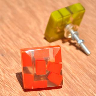 Rectangular Transparent Door Knobs with Rectangular Pastel Shades in OrangeRed