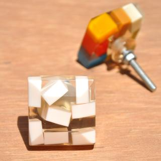 Rectangular Transparent Door Knobs with Rectangular Pastel Shades in White