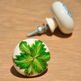 Resin White Knob on Green Flower