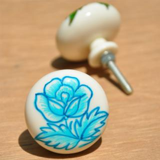 Resin White Knob on Tourquise Rose Flower