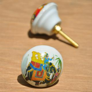 Elephant Painting White Resin Knob