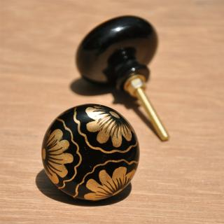 Golden Color Flowers on Black Resin knob
