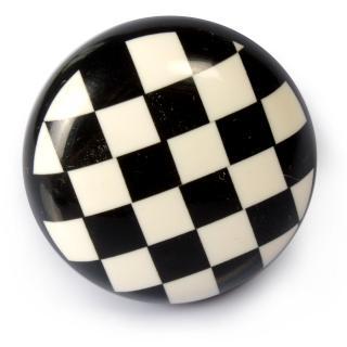 Black and White CheckerBoard Design Resin Knob