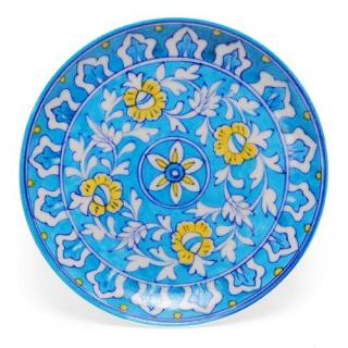 White Leaves and Yellow Flowers on Turquoise Base Plate 8''