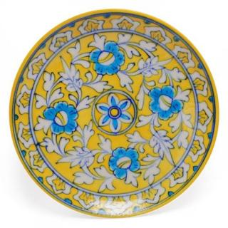 White Leaves and Turquoise Flowers on Yellow Base Plate 8''