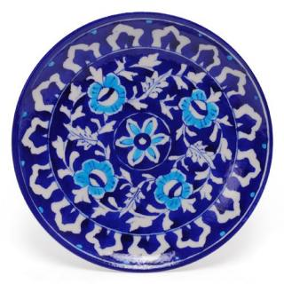 White Leaves and Turquoise Flowers on Blue Base Plate 8''
