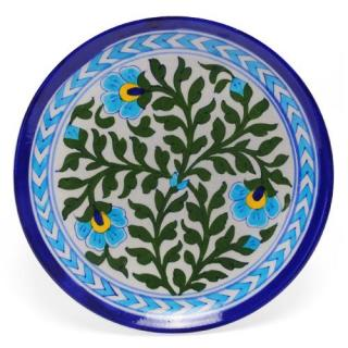 Green Leaves and Turquoise Flowers on White Base Plate 8''