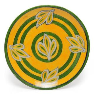 Yellow and Green Color design Plate 8""